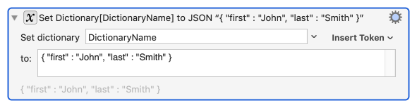 Set Dictionary to JSON