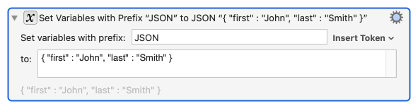Set Variables to JSON