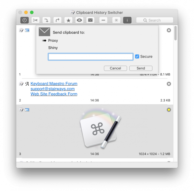 Clipboard History Switcher Window